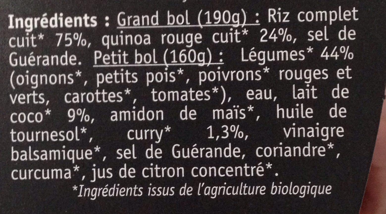 Curry de légumes au lait de coco bio - Chef - Ingrediënten