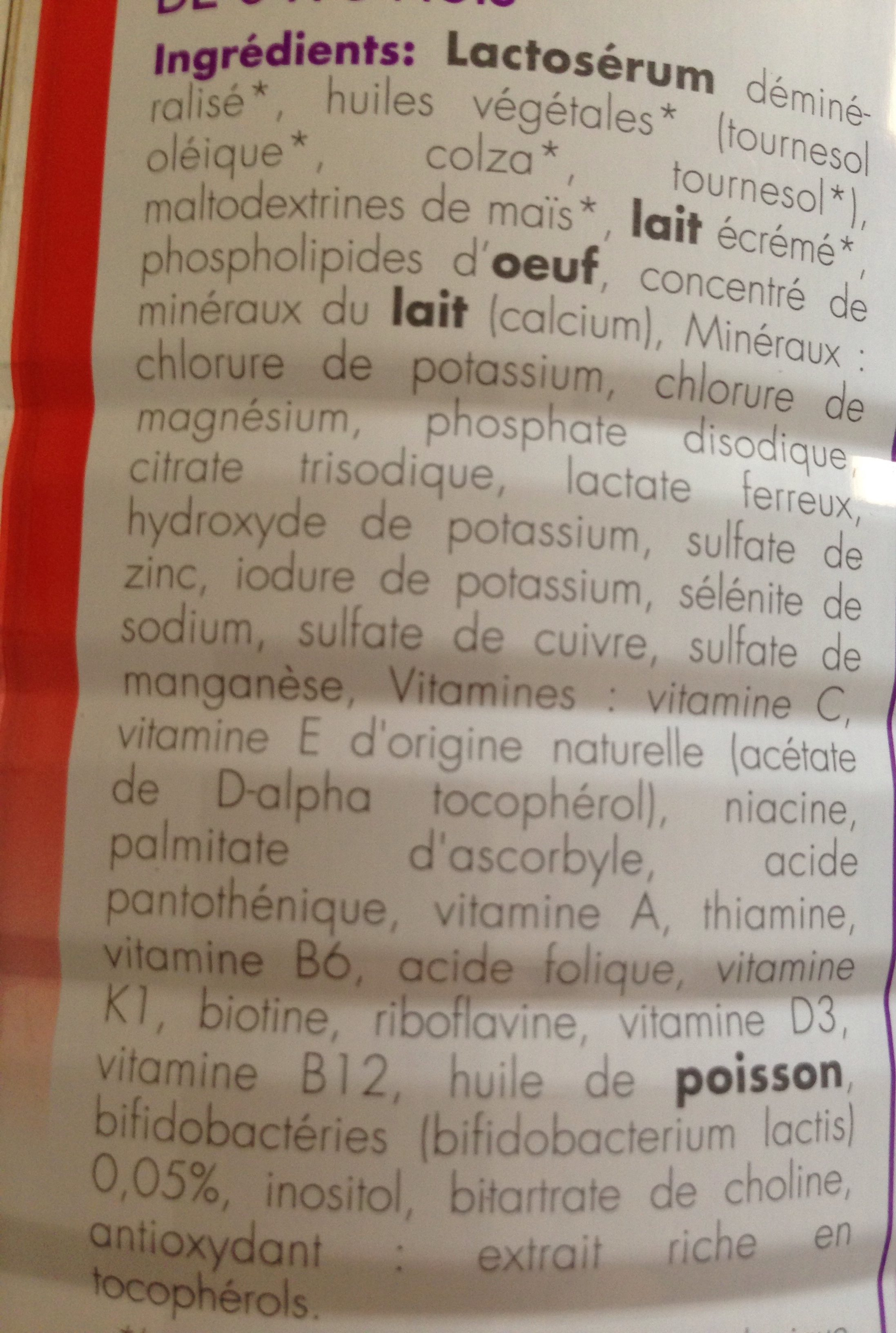 Babybio optima lait nourrissant - Ingredients