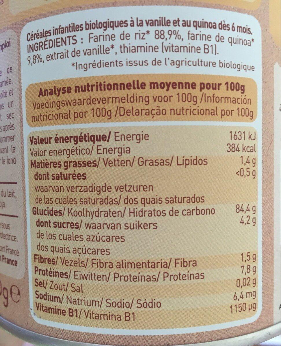 Céréales Vanille - Informations nutritionnelles - fr