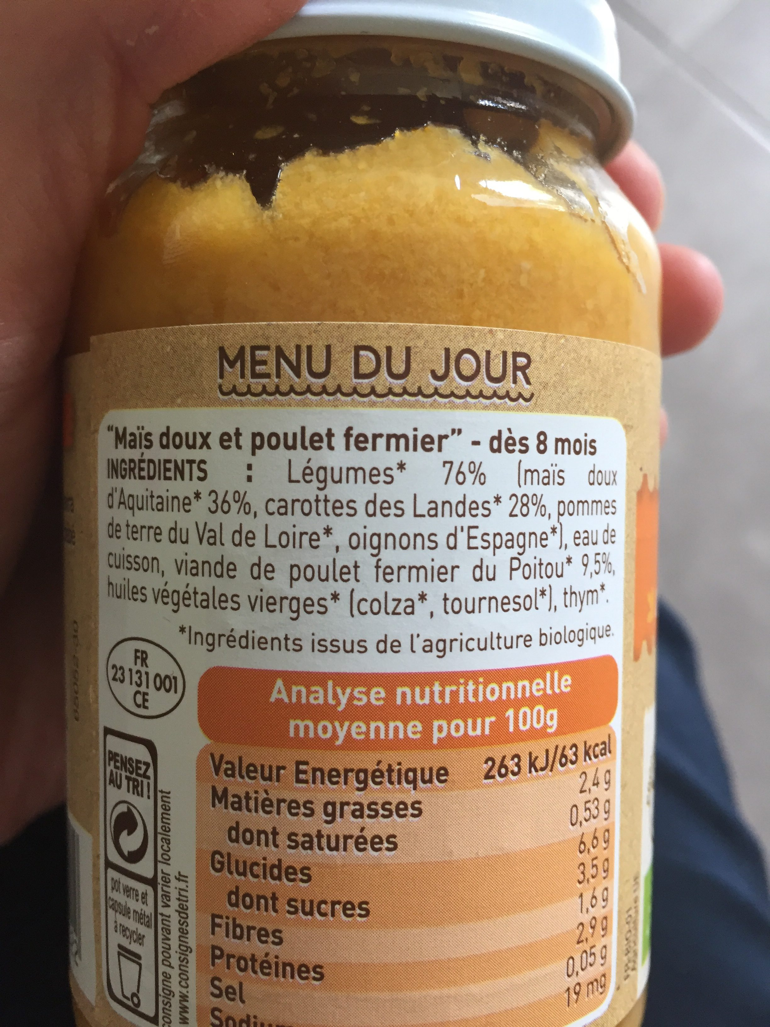 Maïs doux Poulet fermier - Ingredients