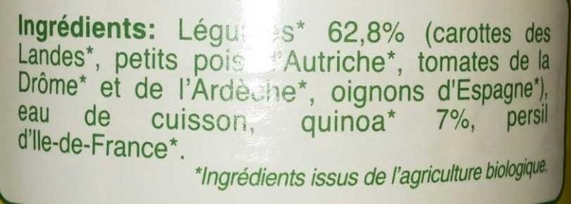 Mouliné de carotte Quinoa - Ingrediënten - fr