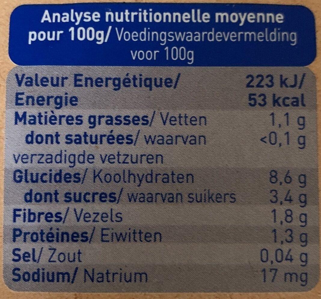 Mouliné de carotte Quinoa - Informations nutritionnelles - fr
