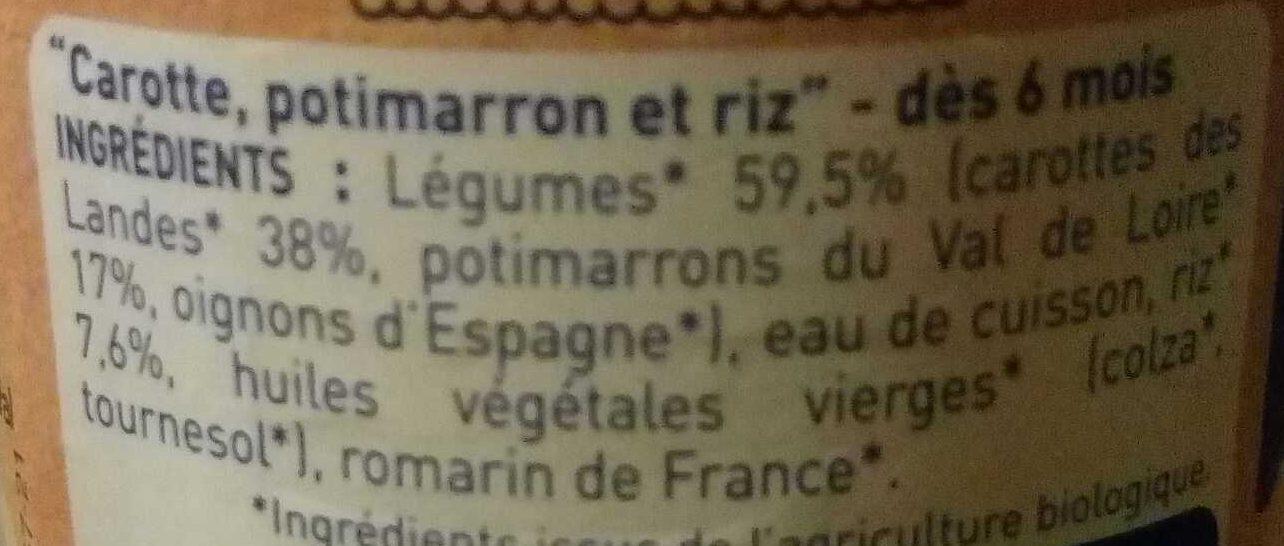 Carottes des Landes, Potimarron & Riz - Ingrédients - fr