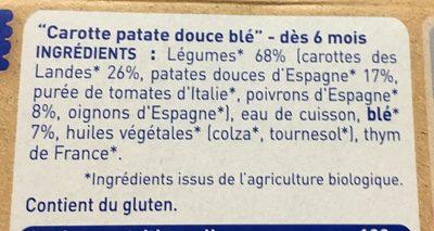 Carotte des Landes, Patate Douce et Blé - Ingrédients - fr
