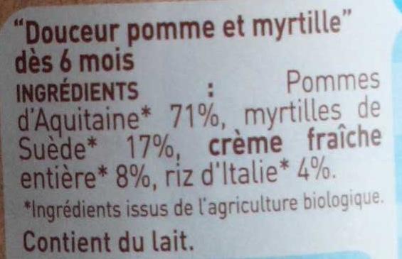 Douceur pomme myrtille - Ingrediënten