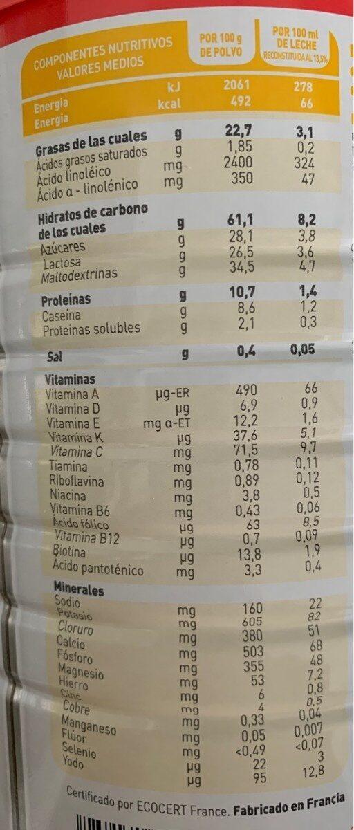 Leche infantil ecológica de continuación desde meses - Información nutricional - es