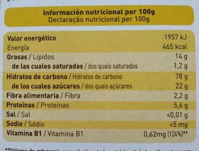 Galletas con aceite esencial de limon - Información nutricional - es