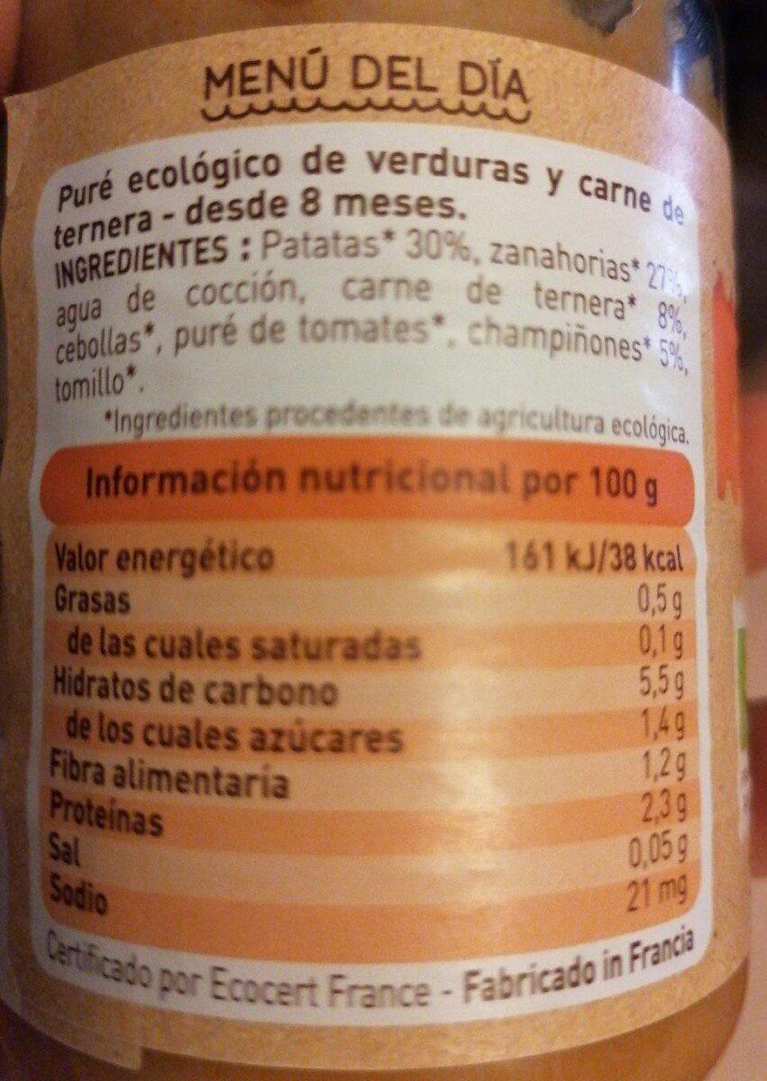 Puré de ternera y verduras - Información nutricional - es
