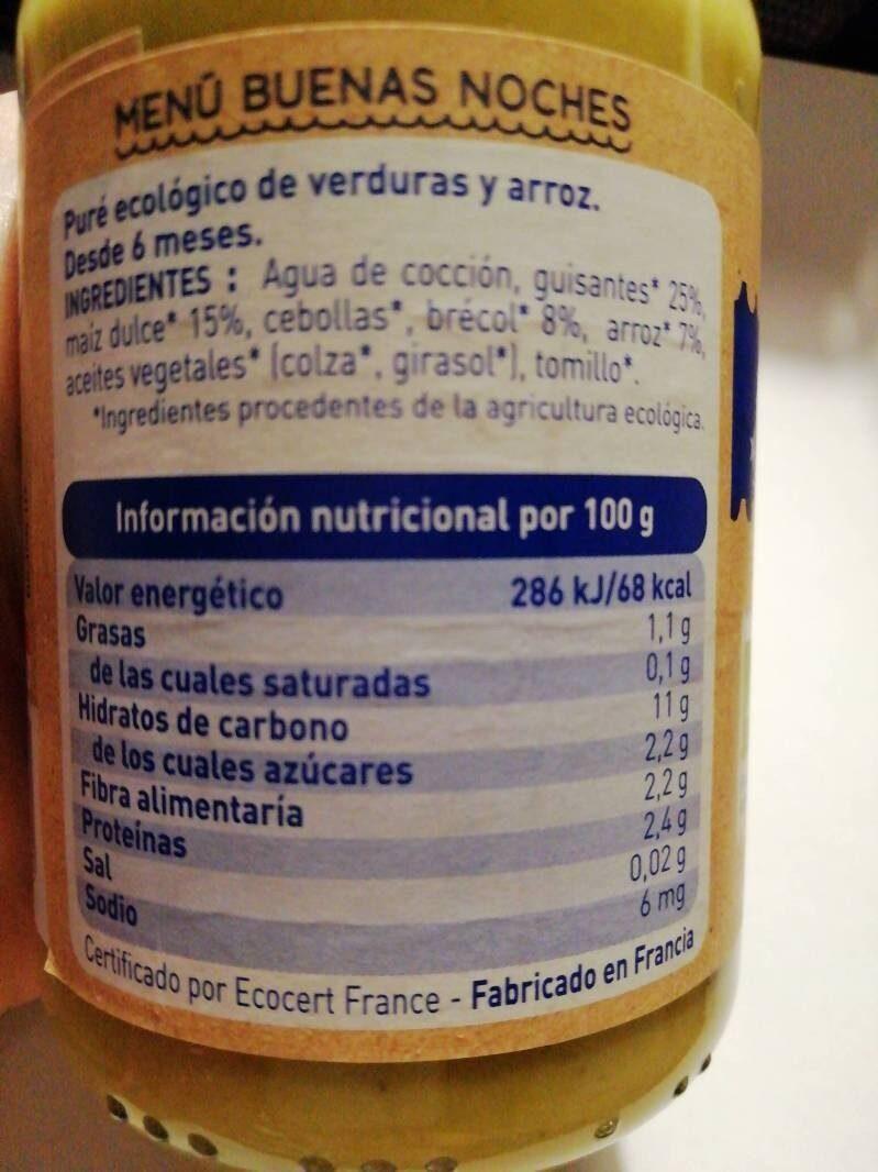 Carrito guisantes maíz y arroz - Información nutricional - es