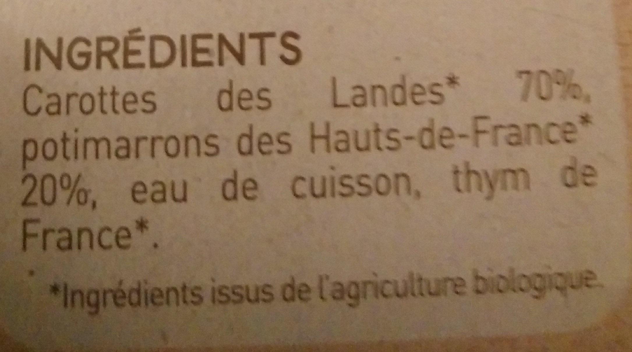 Carottes des Landes potimarron - Ingrédients - fr