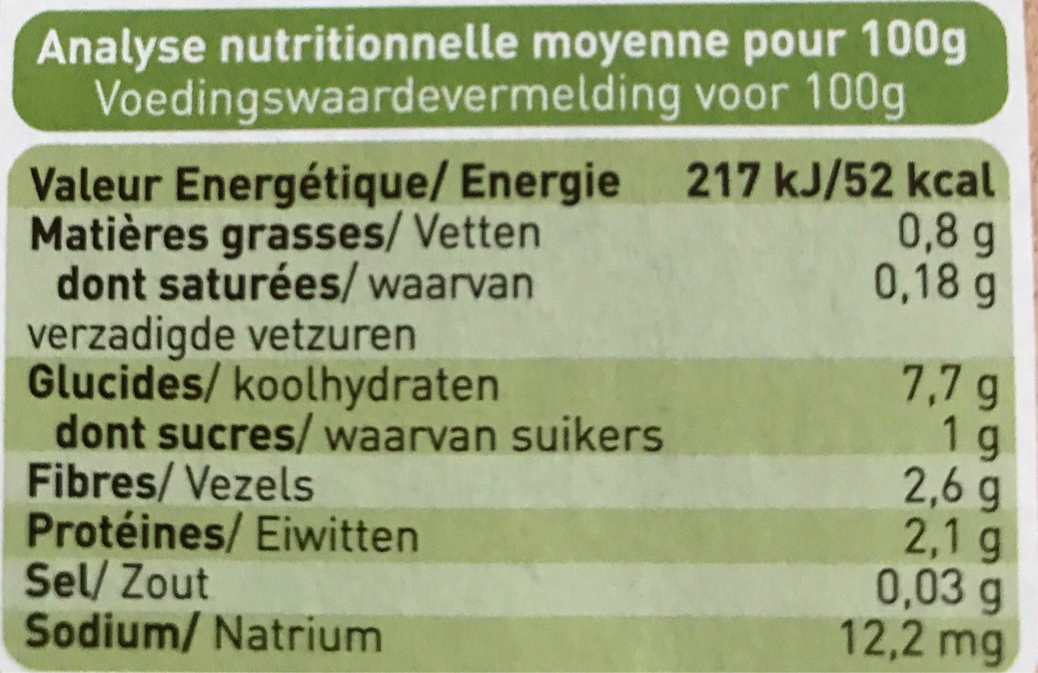 Jardinière de légumes, dès 4 mois, certifié AB - Voedigswaarden