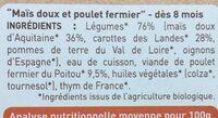 Petits pots au poulet et légumes, dès 8 mois, certifié AB - Ingrediënten - fr