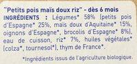 Petits pois, maïs et riz, dès 6 mois, certifié AB - Ingrediënten - fr