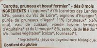 Petit Pot Carotte, Pruneau, Boeuf Fermier Aquitaine & Limousin - Ingrediënten - fr