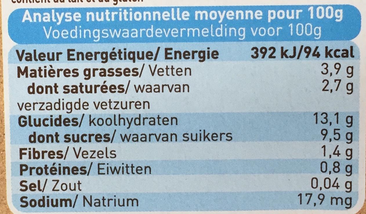Douceur de pomme d'aquitaine biscuitée - Voedingswaarden - fr
