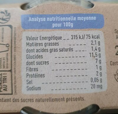 Brassé chèvre poire et figue de provence - Nutrition facts - fr
