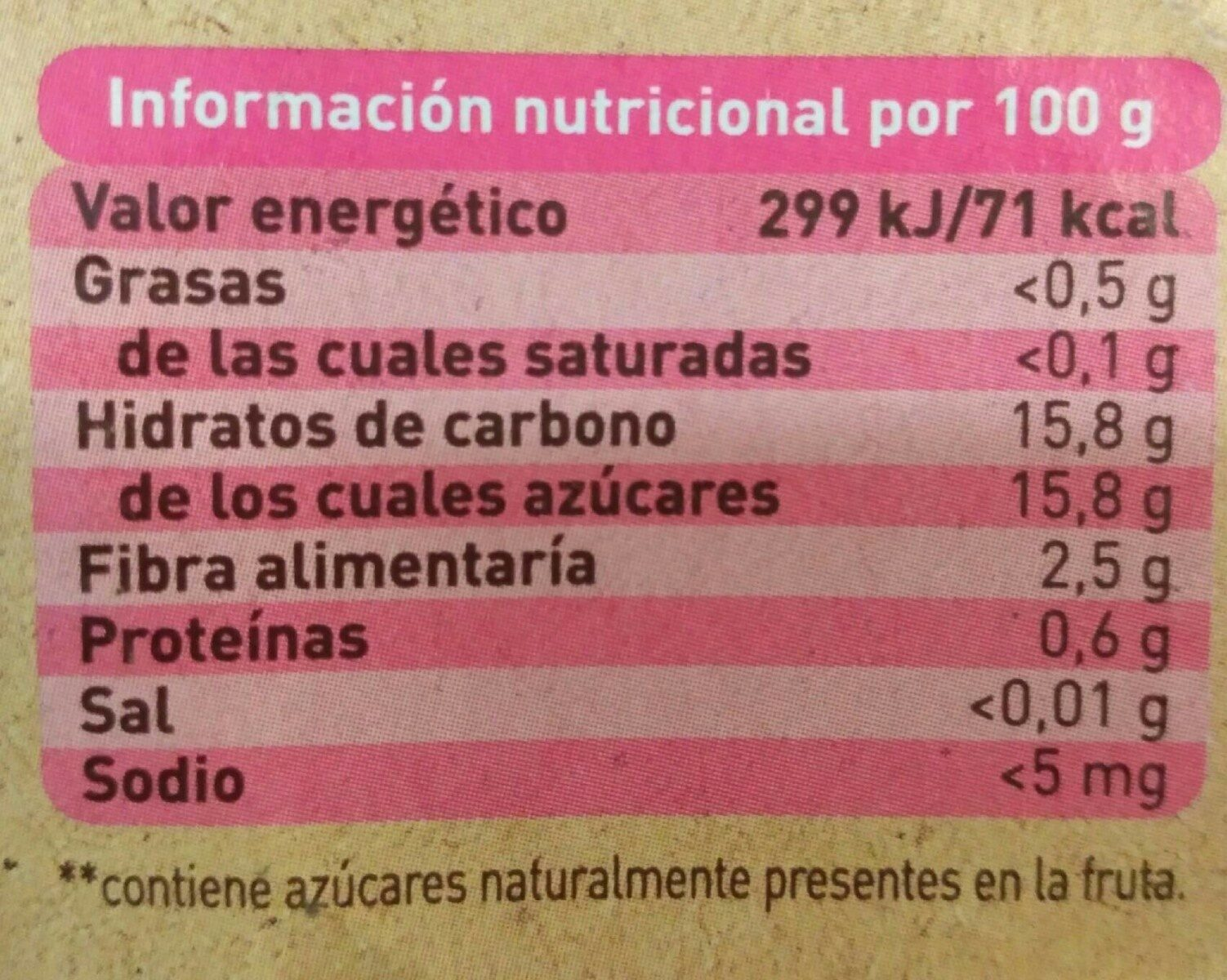 Puré ecológico de frutas - Información nutricional - es