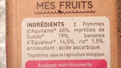 Pomme Myrtille Banane - Ingredients