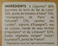 Pomme de terre, tomate, champignon, veau fermier d'Aquitaine et du limousin - Ingrediënten