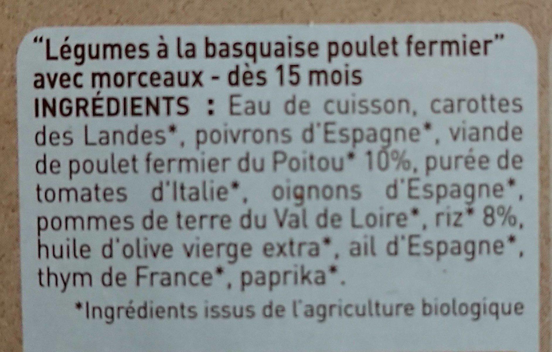 Légumes à la basquaise & poulet fermier - Ingrediënten