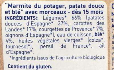 ASSIETTE BONNE NUIT PATATE DOUCE BLE 260G - Ingrédients - fr