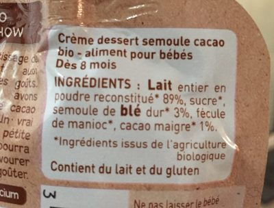 Crème semoule cacao - Ingredients - fr