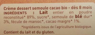 Crème semoule cacao - Ingredients