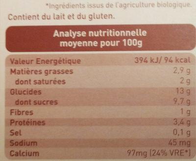 Crème semoule cacao - Nutrition facts - fr