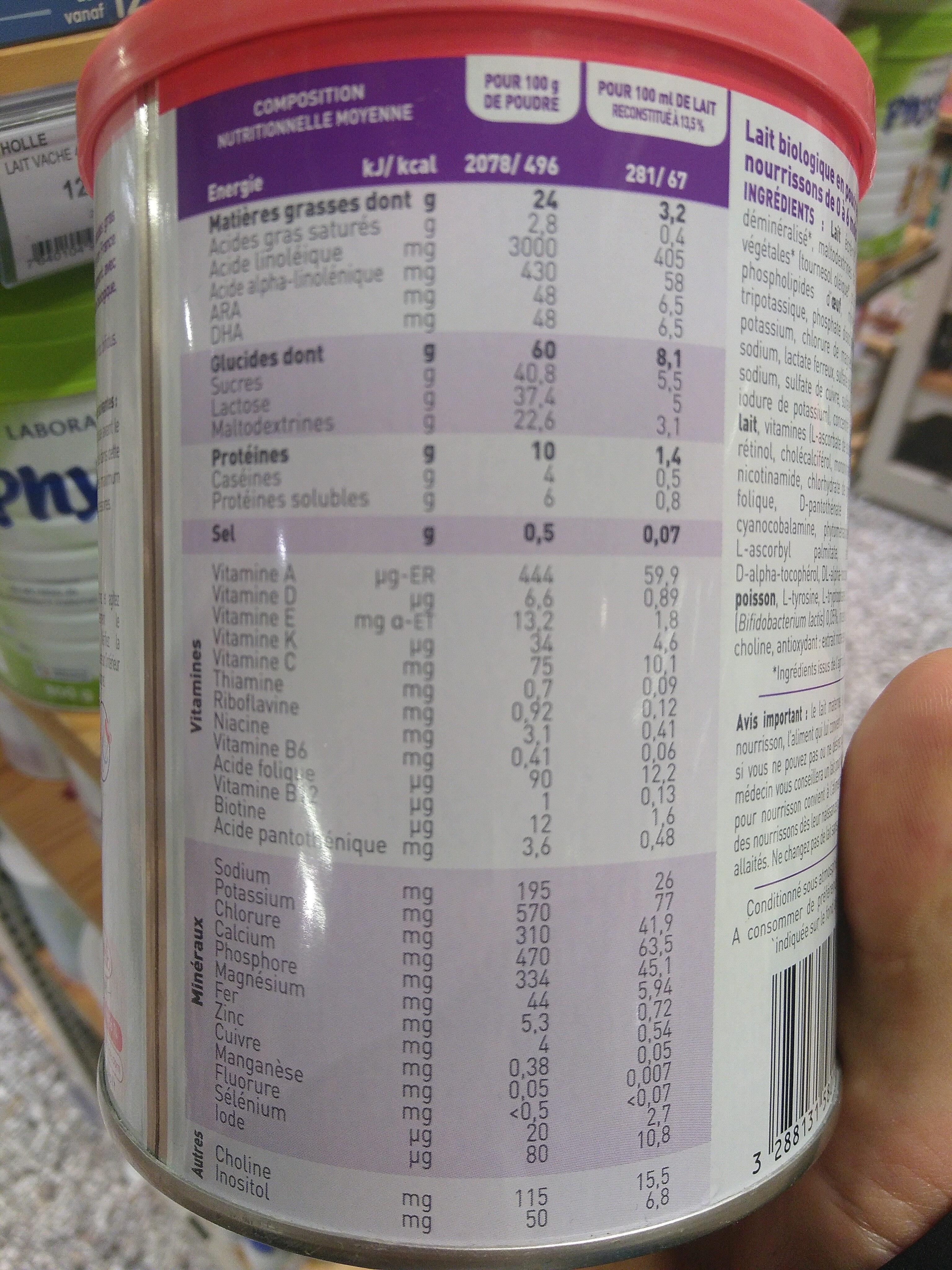 Babybio optima - Nutrition facts