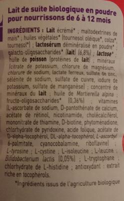 Babybio optima lait 2eme age - Ingredients - fr
