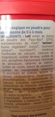 Babybio Lait 1er âge Capréa Bio - 0 à 6 Mois - Ingredients - fr