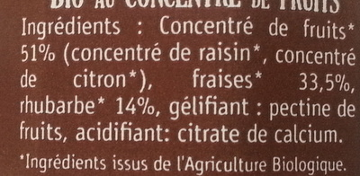 Fraise Rhubarbe, délice de fruits Bio - Ingrediënten