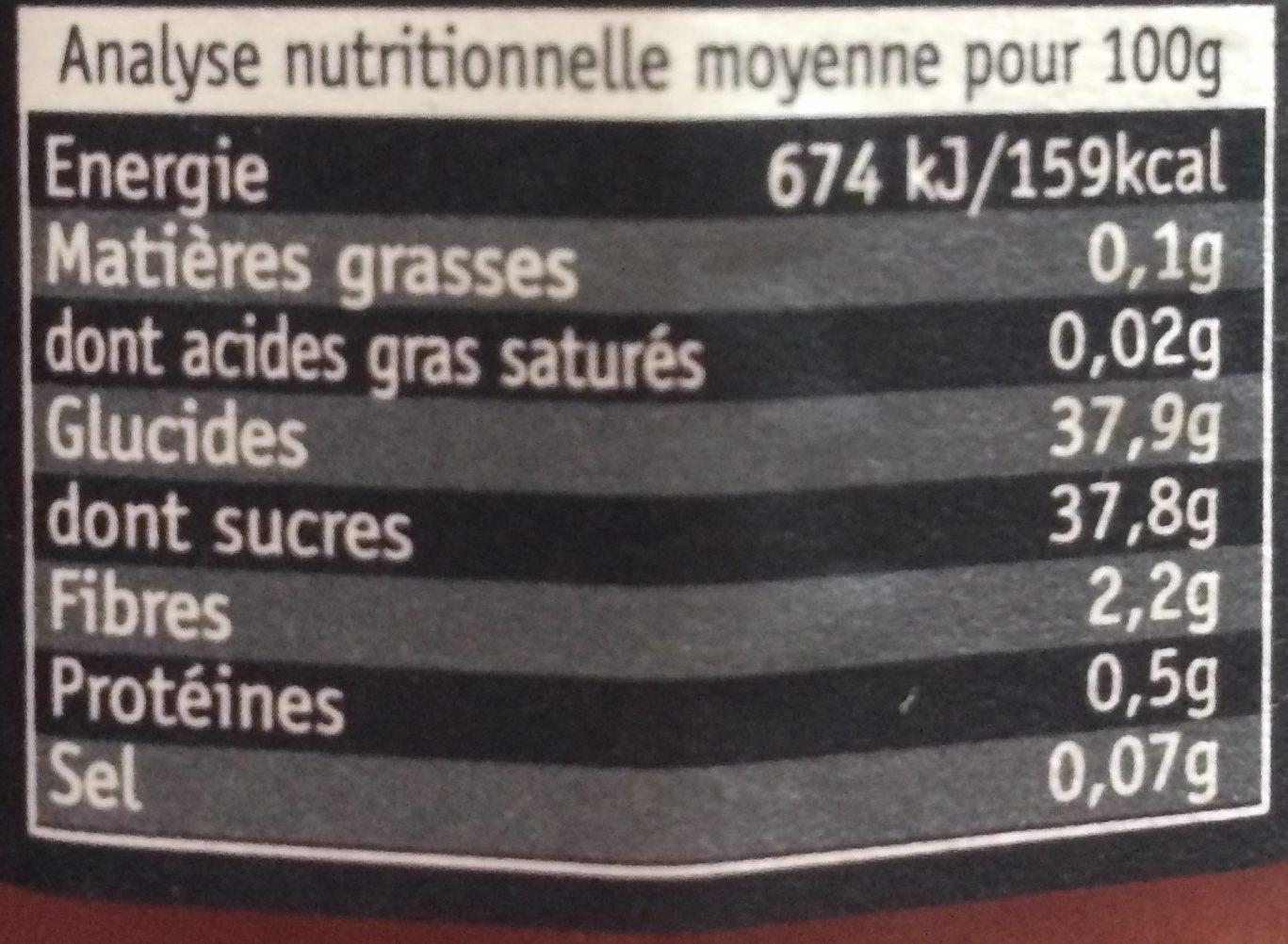 Fraise Rhubarbe, délice de fruits Bio - Voedigswaarden
