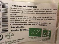 Saucisse Seche artisanale - Nutrition facts