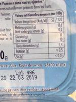 Puree de pommes - Informations nutritionnelles