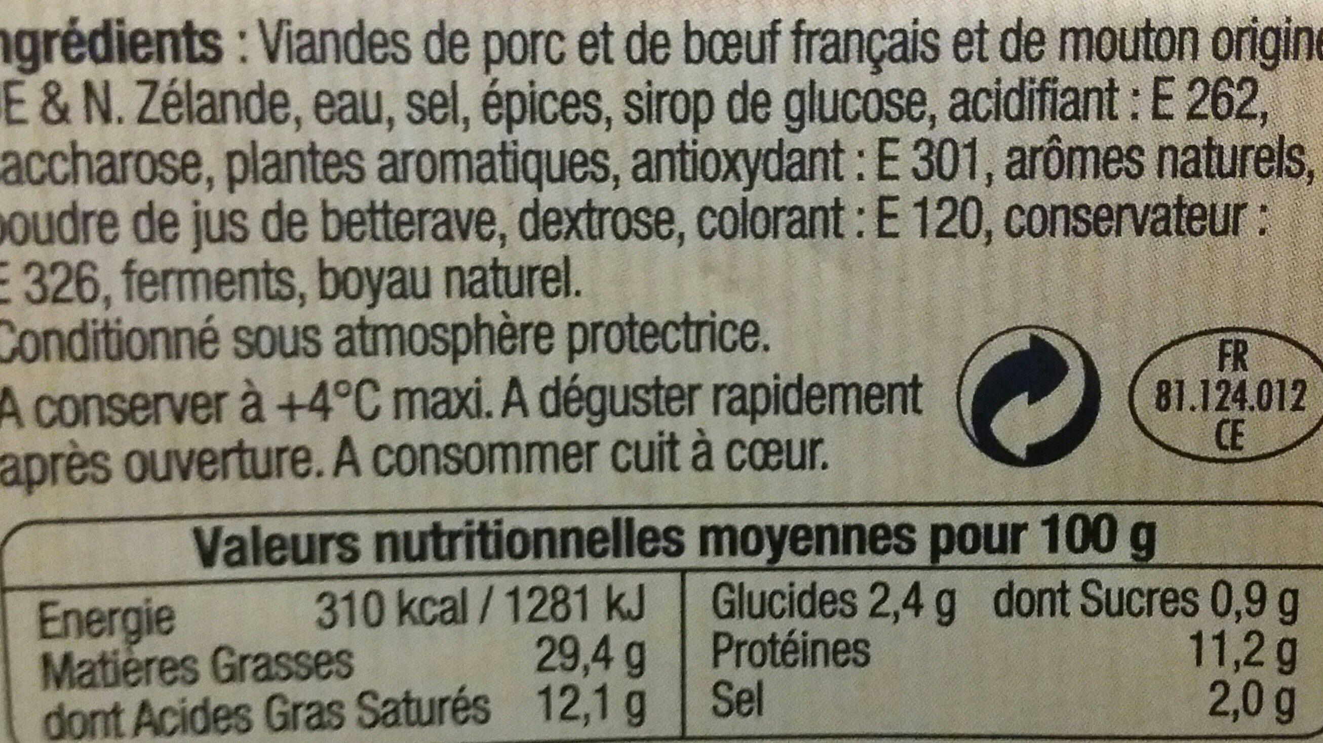 Merguez barquette - Ingrédients - fr