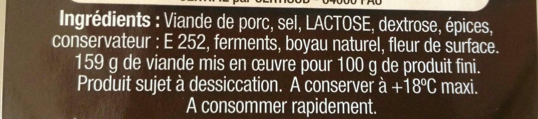Saucisse sèche 1967 - Ingrediënten