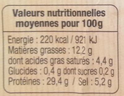 Jambon sec supérieur - Nutrition facts - fr
