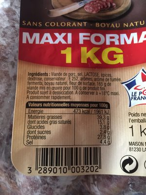 Saucisse seche - Ingredients
