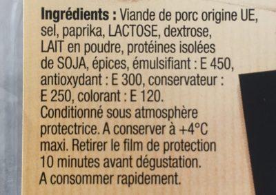 Chorizo Pur porc - Ingrédients - fr
