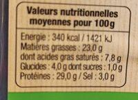 Chorizo Pur porc - Informations nutritionnelles - fr