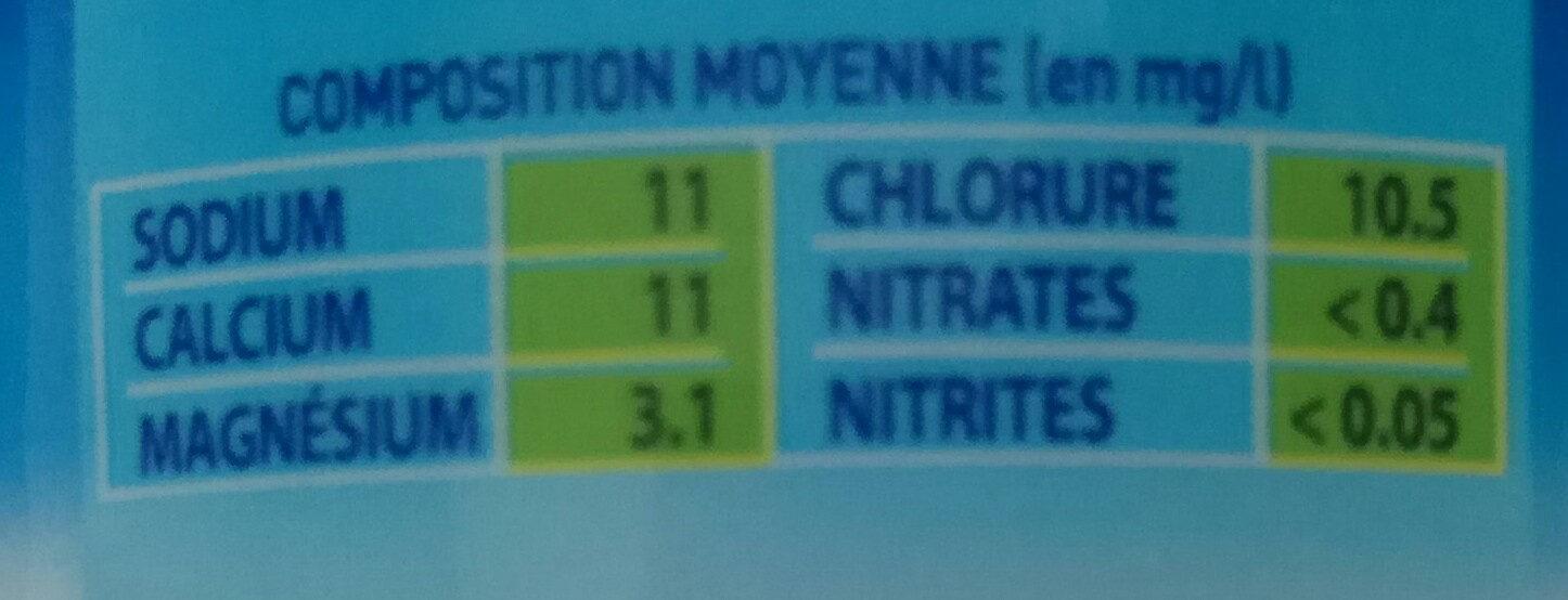 CHANFLOR eau de source 50cl - Informations nutritionnelles - fr