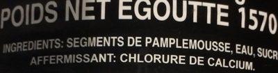 Segments de pamplemousse au sirop léger - Ingrédients - fr