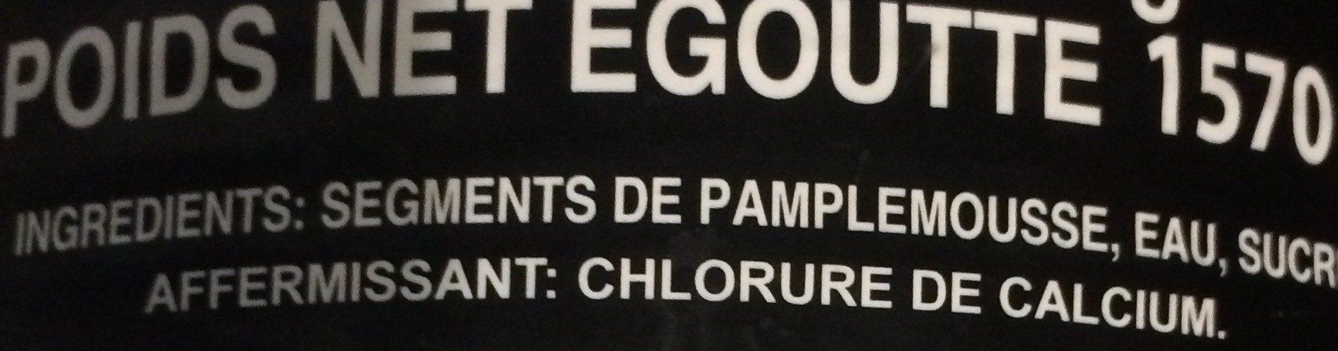 Segments de pamplemousse au sirop léger - Ingrédients