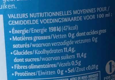 Matin Douceur 100% pur jus - Nutrition facts
