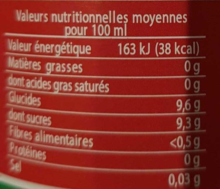 Jus betterave framboises - Voedingswaarden - fr