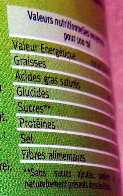 Jus de légumes - Nutrition facts