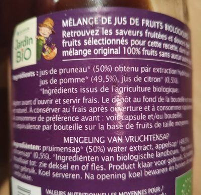 Jus Pruneau Pomme Citron - Ingredients - fr