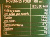 Pur jus ananas mangue citron vert - Informations nutritionnelles - fr
