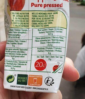 Pur jus de pomme bio - Informations nutritionnelles - fr